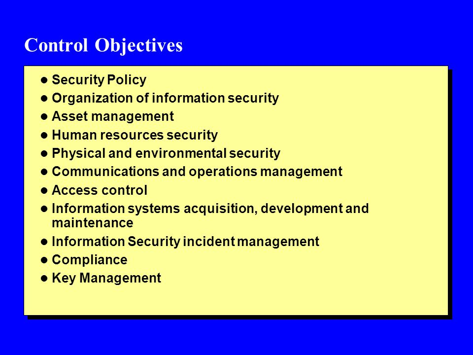 Control Objectives Security Policy