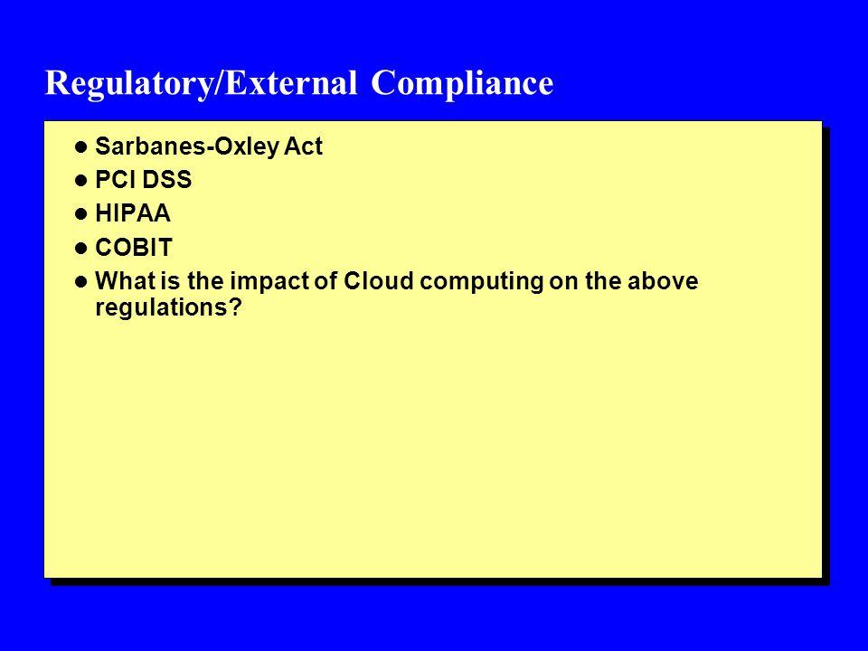 Regulatory/External Compliance
