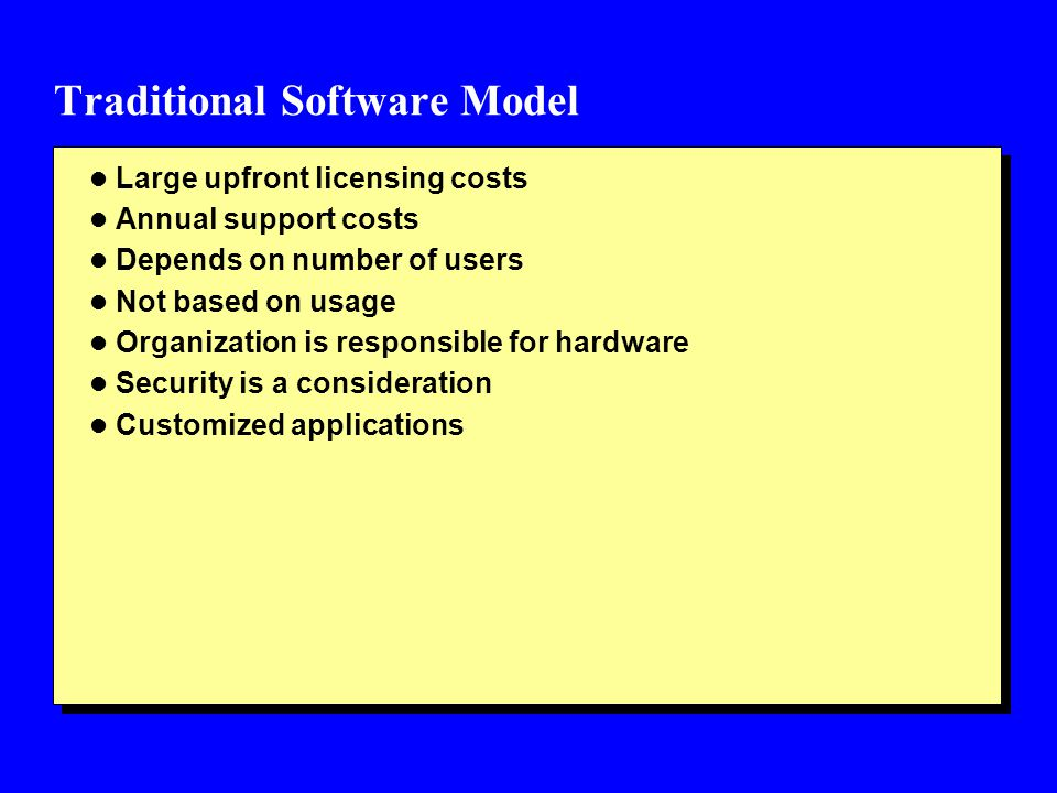 Traditional Software Model