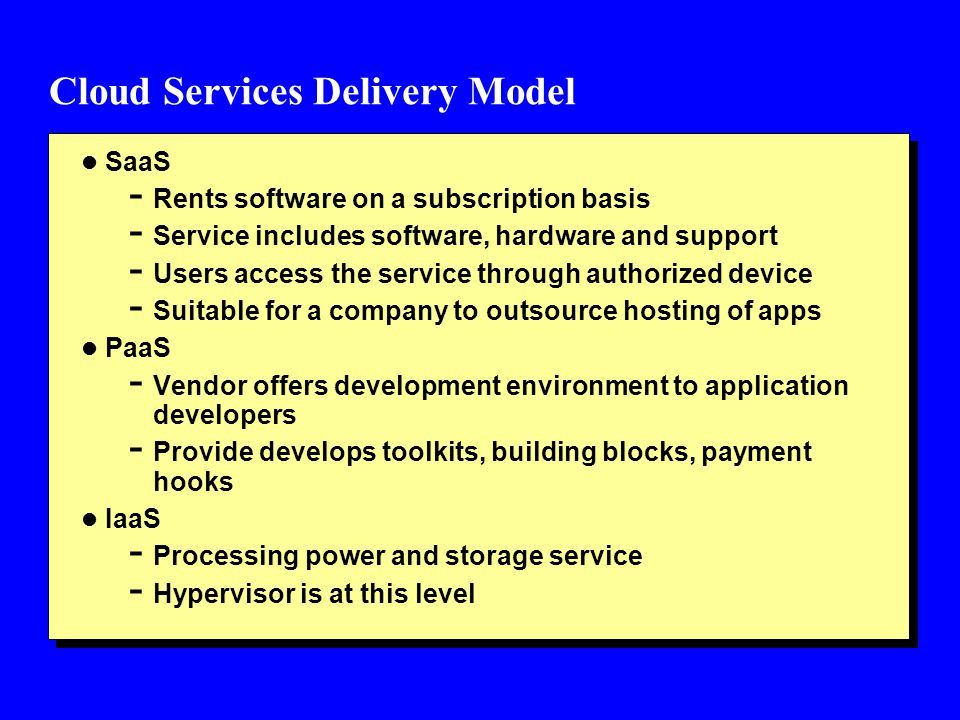 Cloud Services Delivery Model