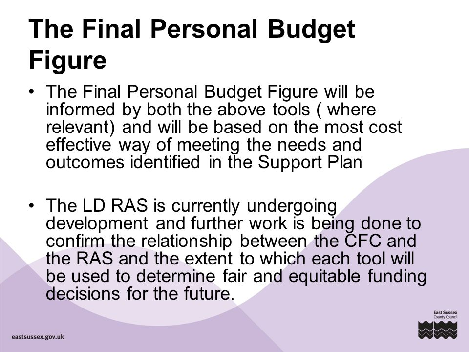 The Final Personal Budget Figure