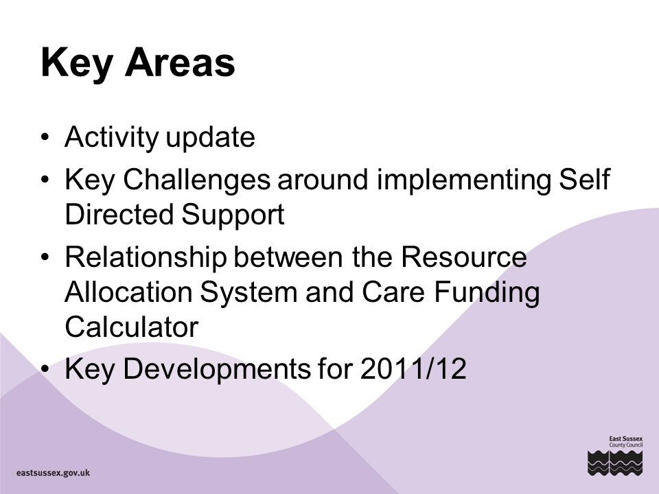 Key Areas Activity update