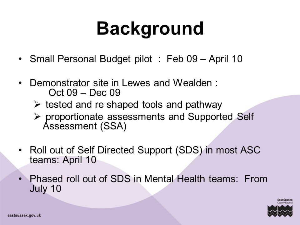 Background Small Personal Budget pilot : Feb 09 – April 10