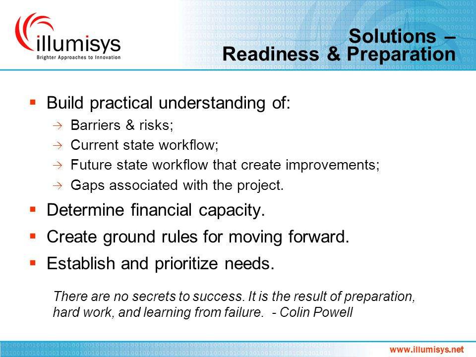 Solutions – Readiness & Preparation