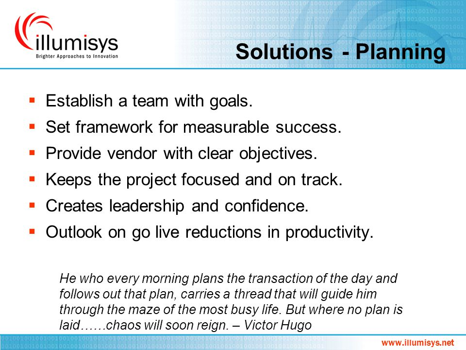 Solutions - Planning Establish a team with goals.