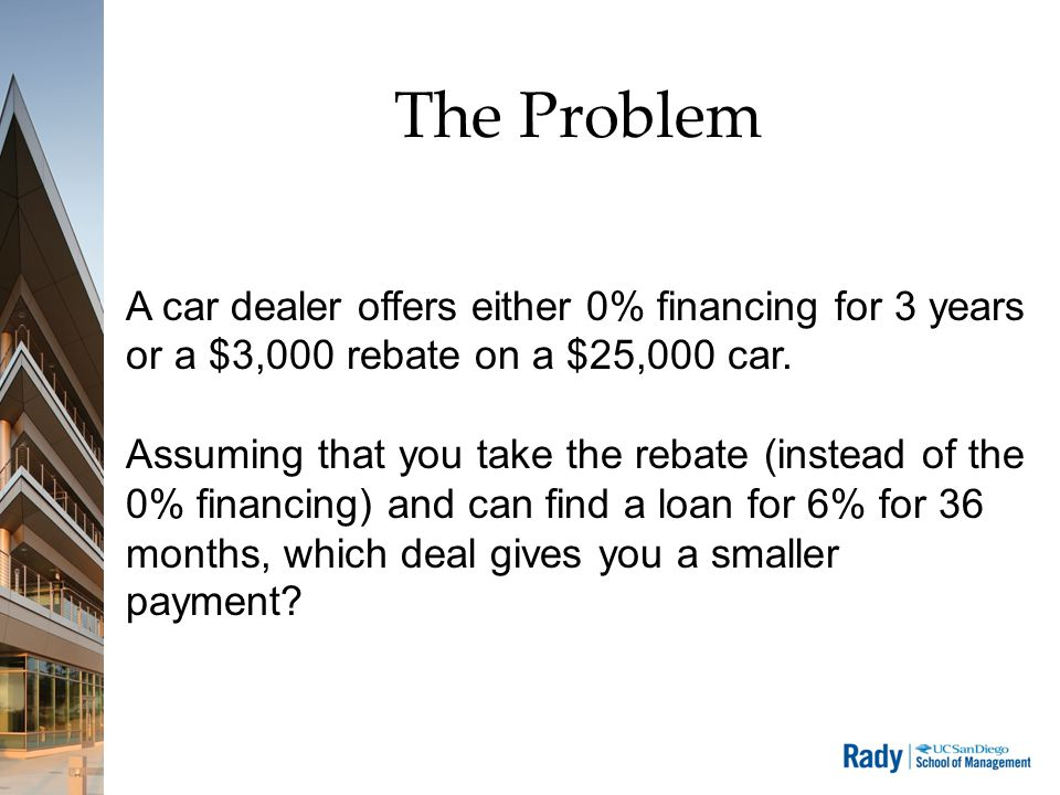 The Problem A car dealer offers either 0% financing for 3 years or a $3,000 rebate on a $25,000 car.