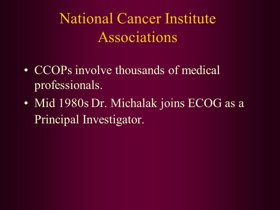 National Cancer Institute Associations