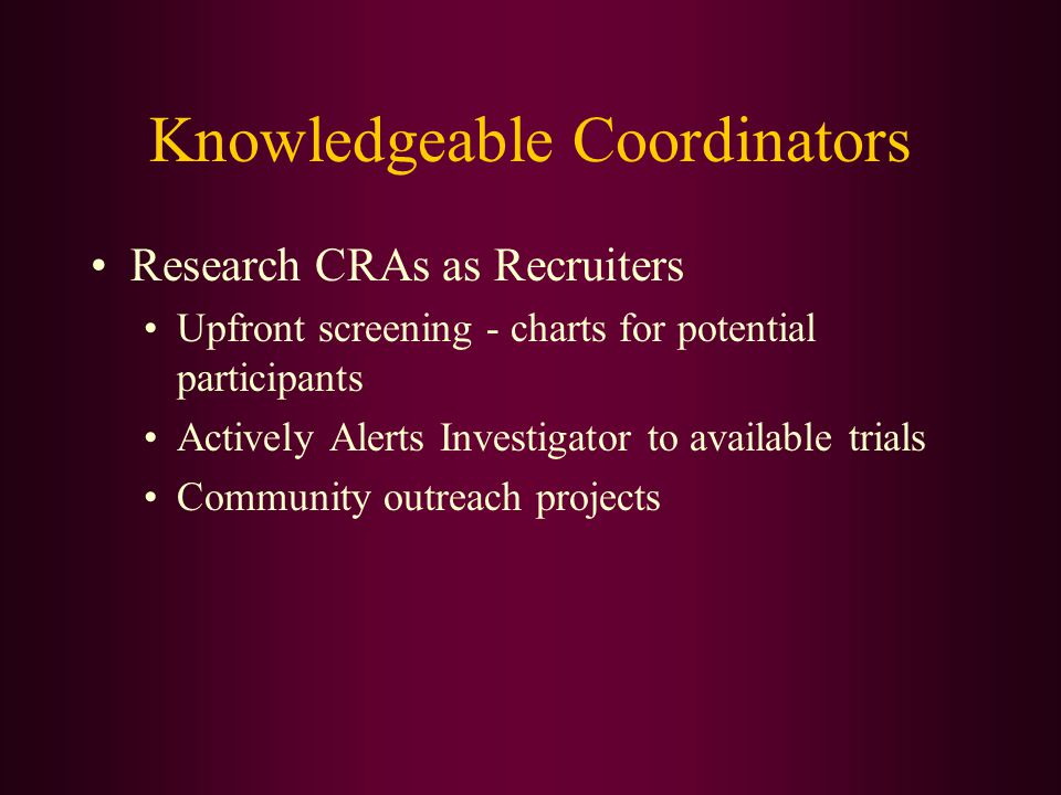 Knowledgeable Coordinators