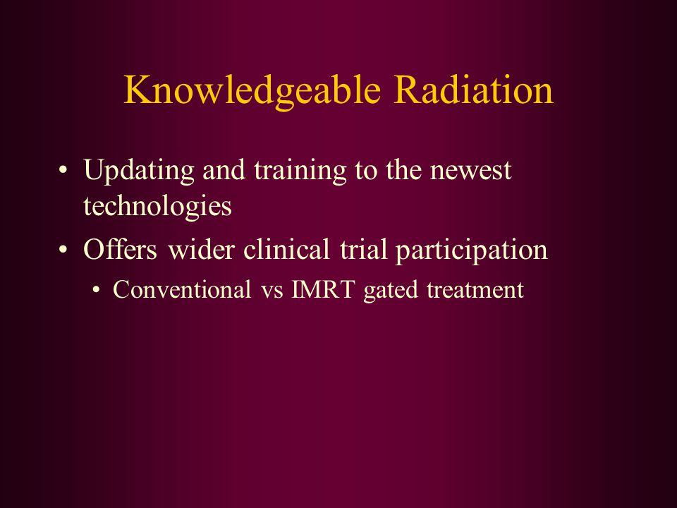 Knowledgeable Radiation