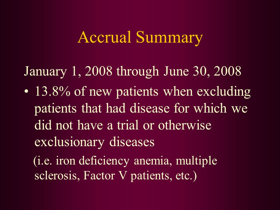 Accrual Summary January 1, 2008 through June 30, 2008