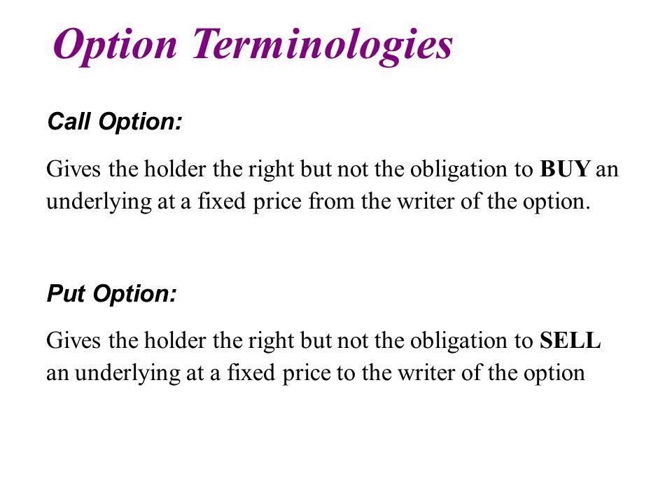 Option Terminologies Call Option: