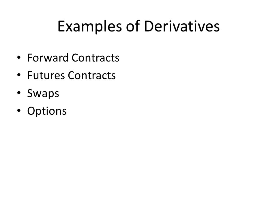 Examples of Derivatives