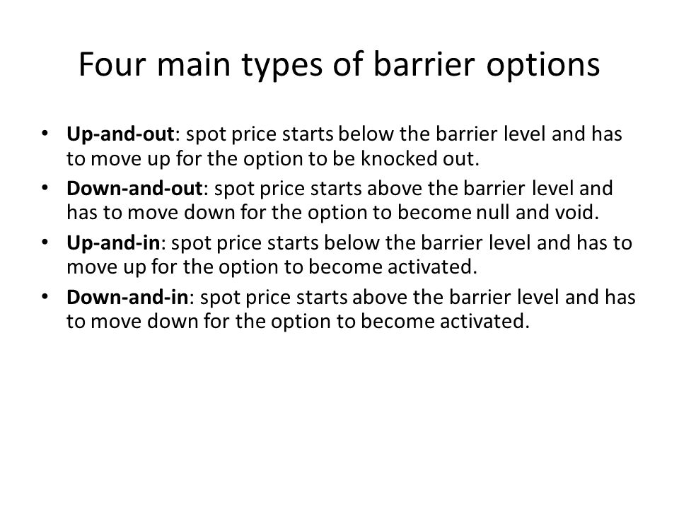 Four main types of barrier options