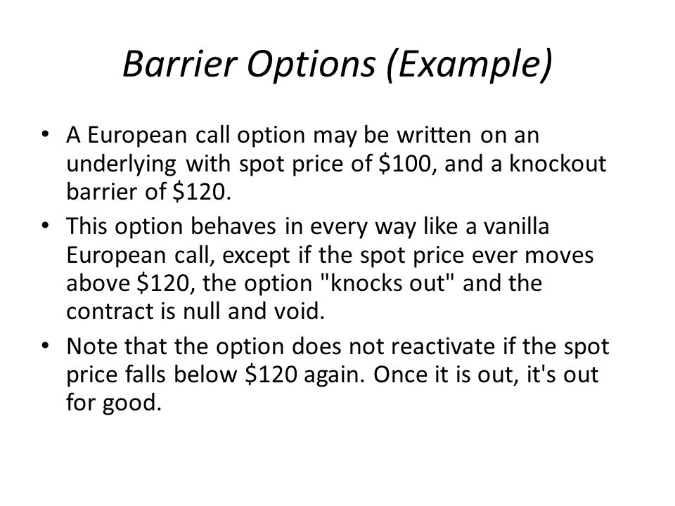 Barrier Options (Example)