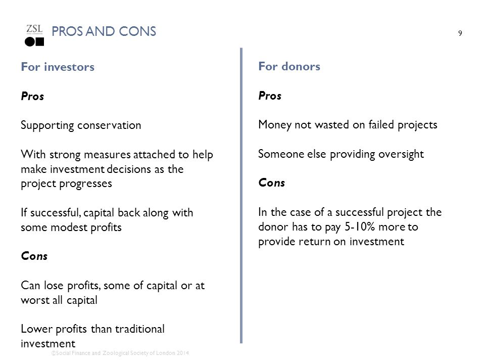 Pros and cons For investors Pros Supporting conservation