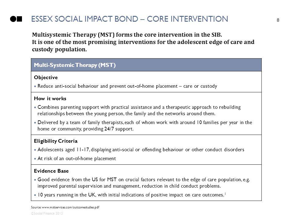 Essex social impact bond – core intervention