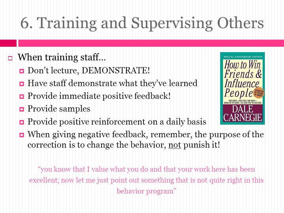 6. Training and Supervising Others