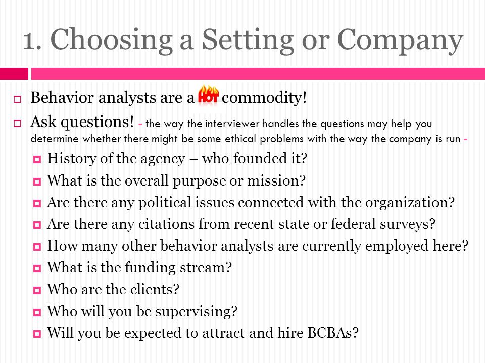 1. Choosing a Setting or Company