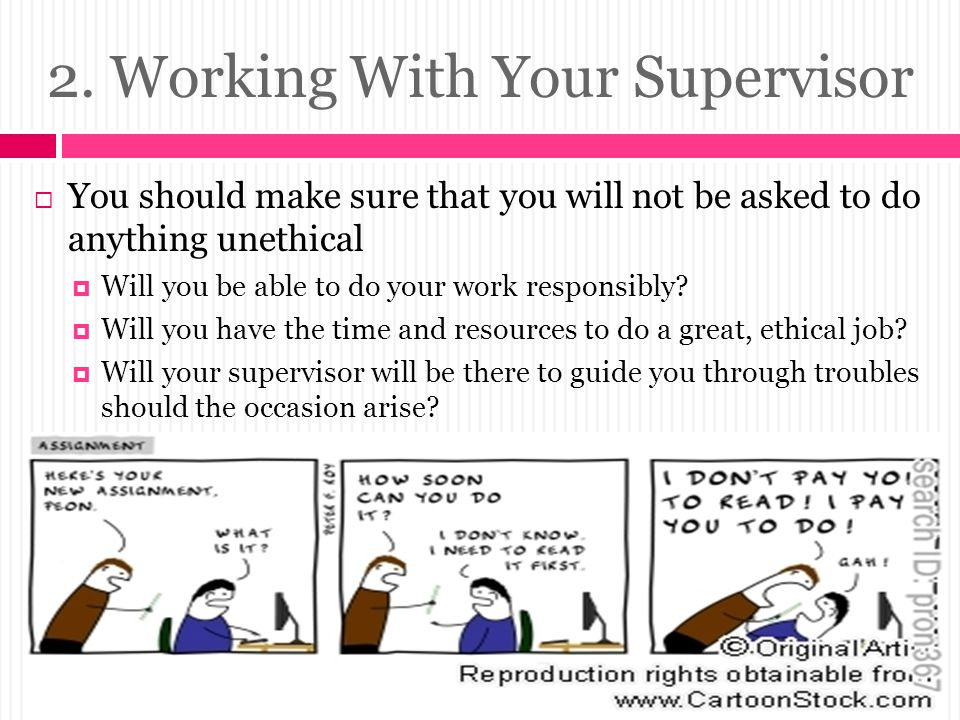 2. Working With Your Supervisor