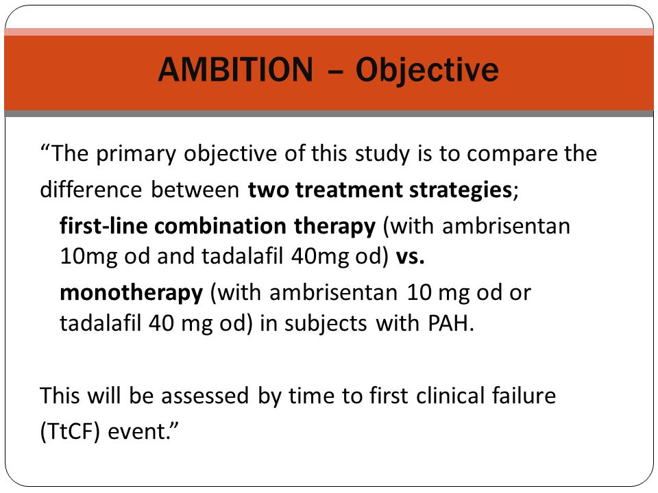 AMBITION – Objective The primary objective of this study is to compare the. difference between two treatment strategies;