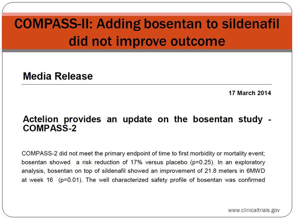 COMPASS-II: Adding bosentan to sildenafil did not improve outcome
