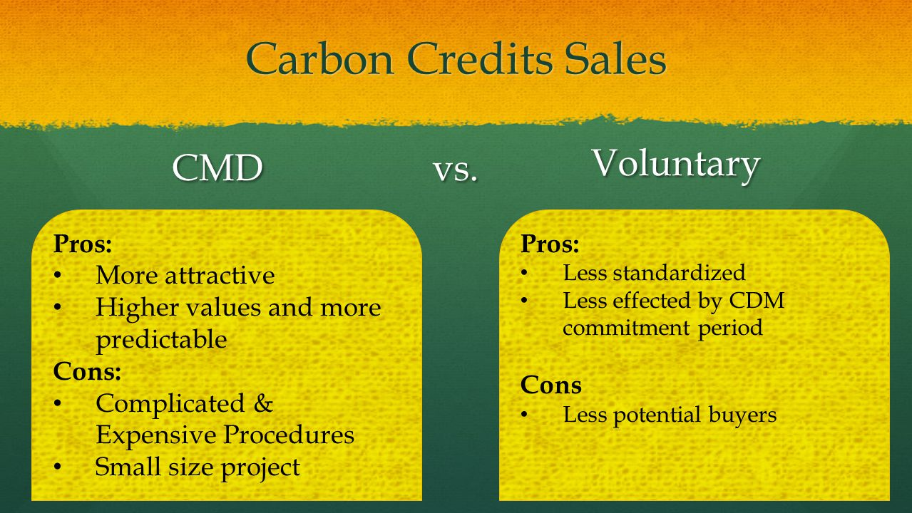 Carbon Credits Sales Voluntary CMD vs. Pros: More attractive