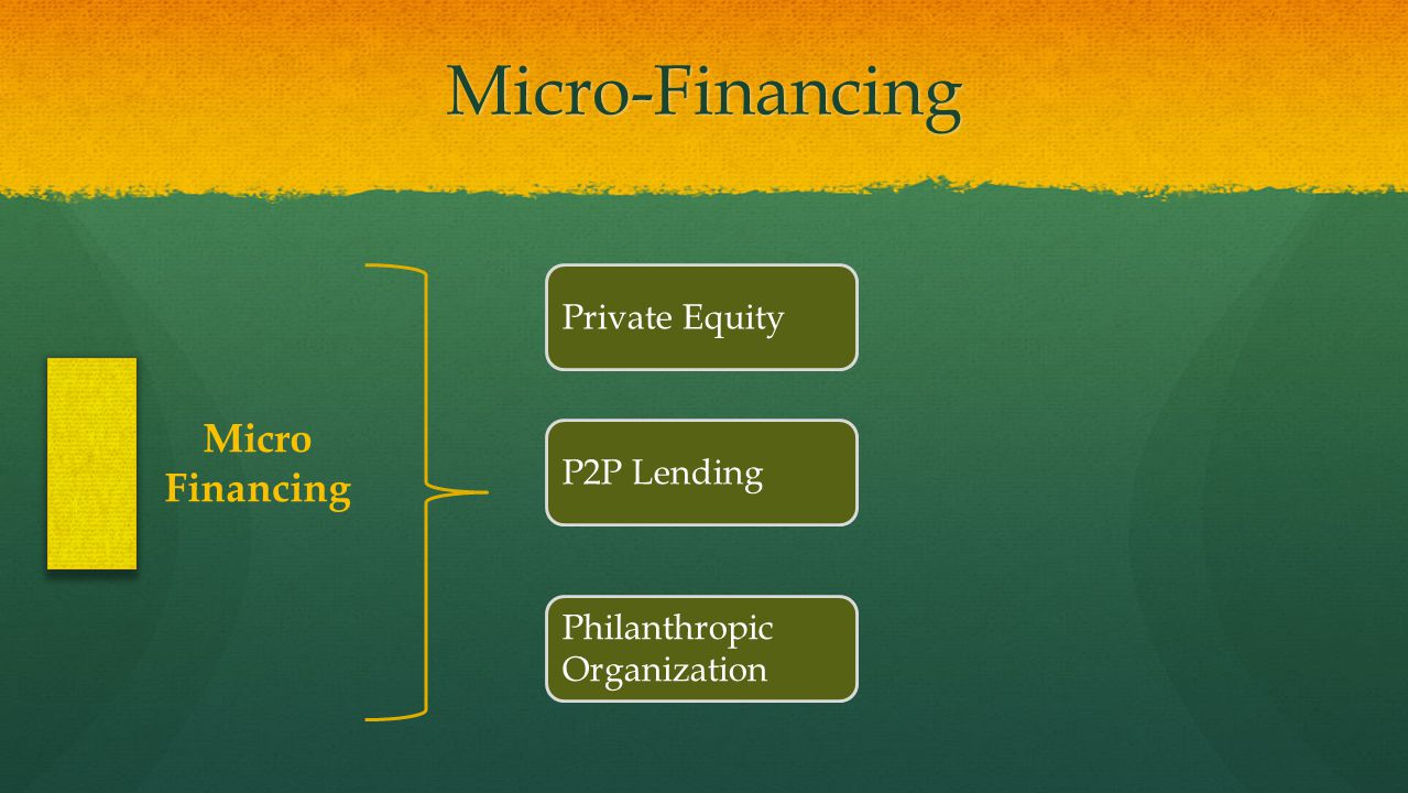 Micro-Financing Micro Financing Private Equity P2P Lending