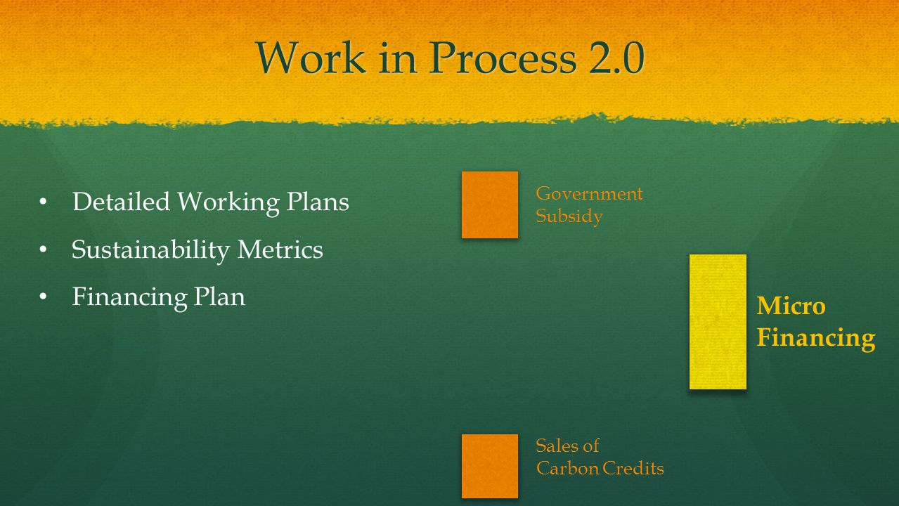 Work in Process 2.0 Detailed Working Plans Sustainability Metrics