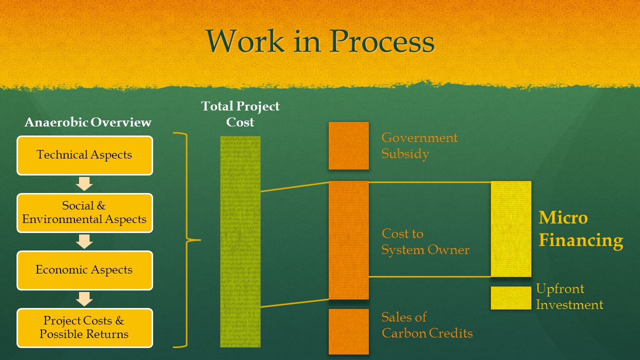 Work in Process Micro Financing Total Project Cost Anaerobic Overview