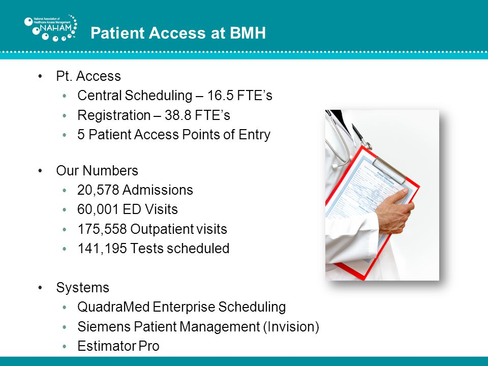 Patient Access at BMH Pt. Access Central Scheduling – 16.5 FTE's
