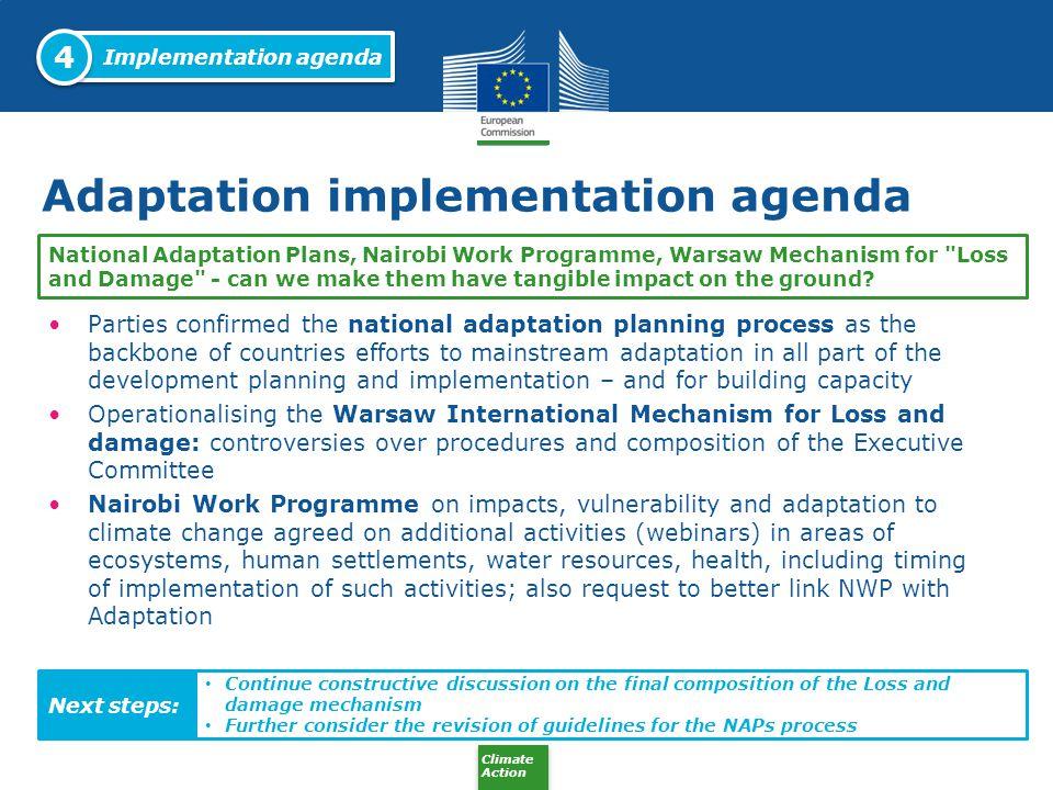 Adaptation implementation agenda
