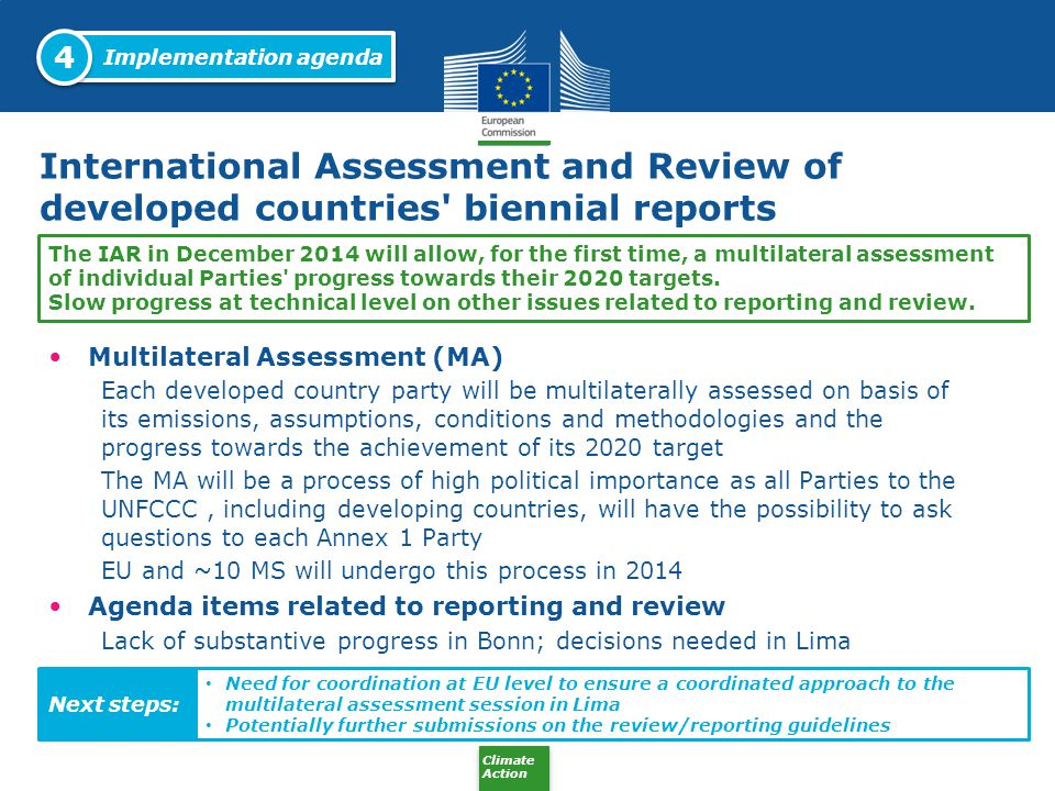 4 Implementation agenda. International Assessment and Review of developed countries biennial reports.