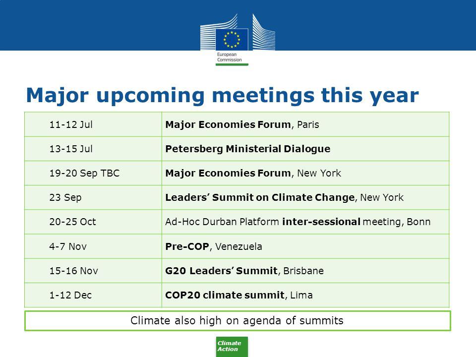Major upcoming meetings this year