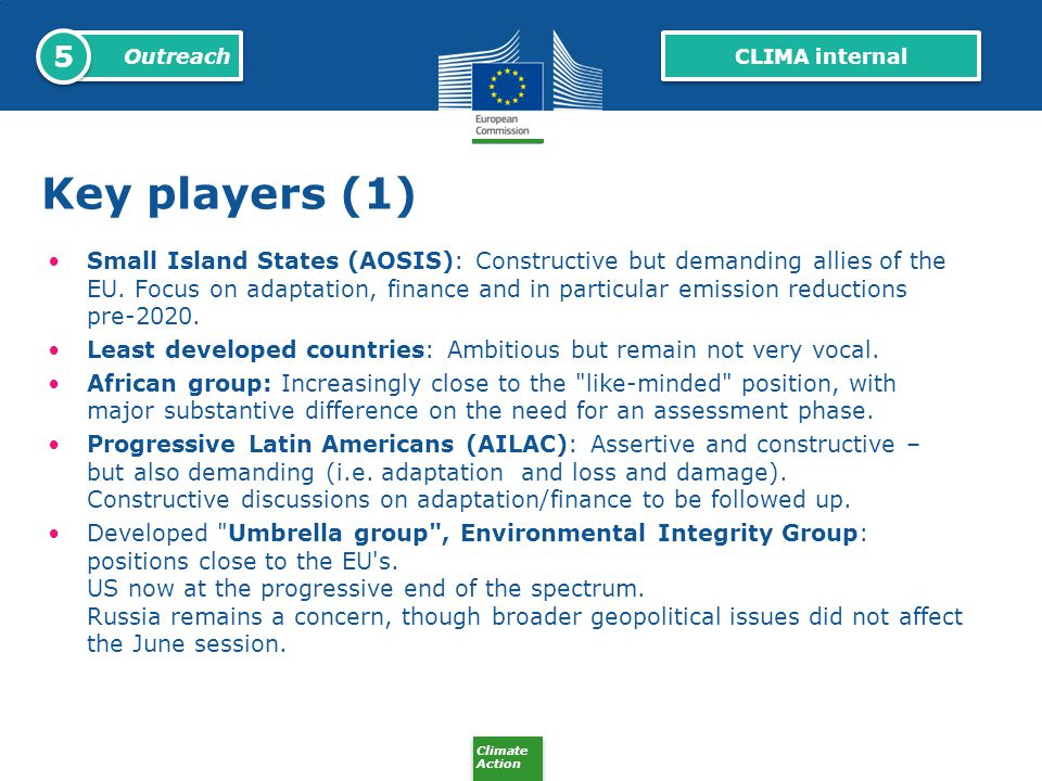 5 Outreach. CLIMA internal. Key players (1)