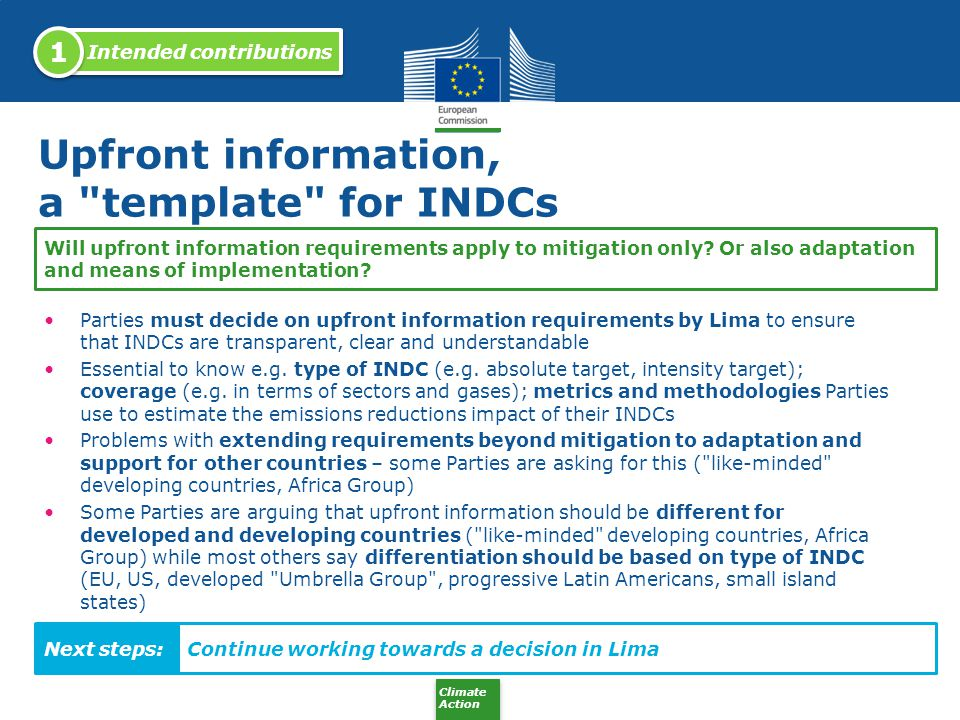 Upfront information, a template for INDCs
