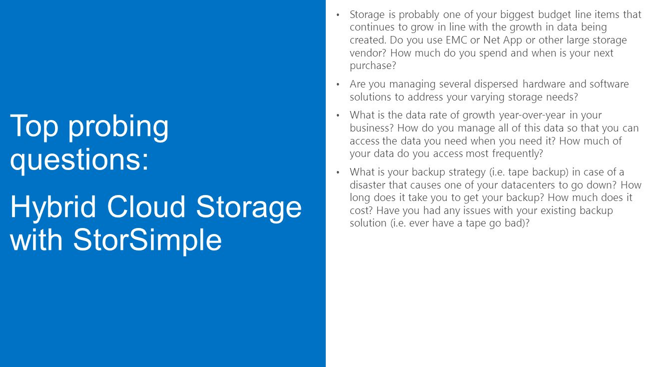 Top probing questions: Hybrid Cloud Storage with StorSimple