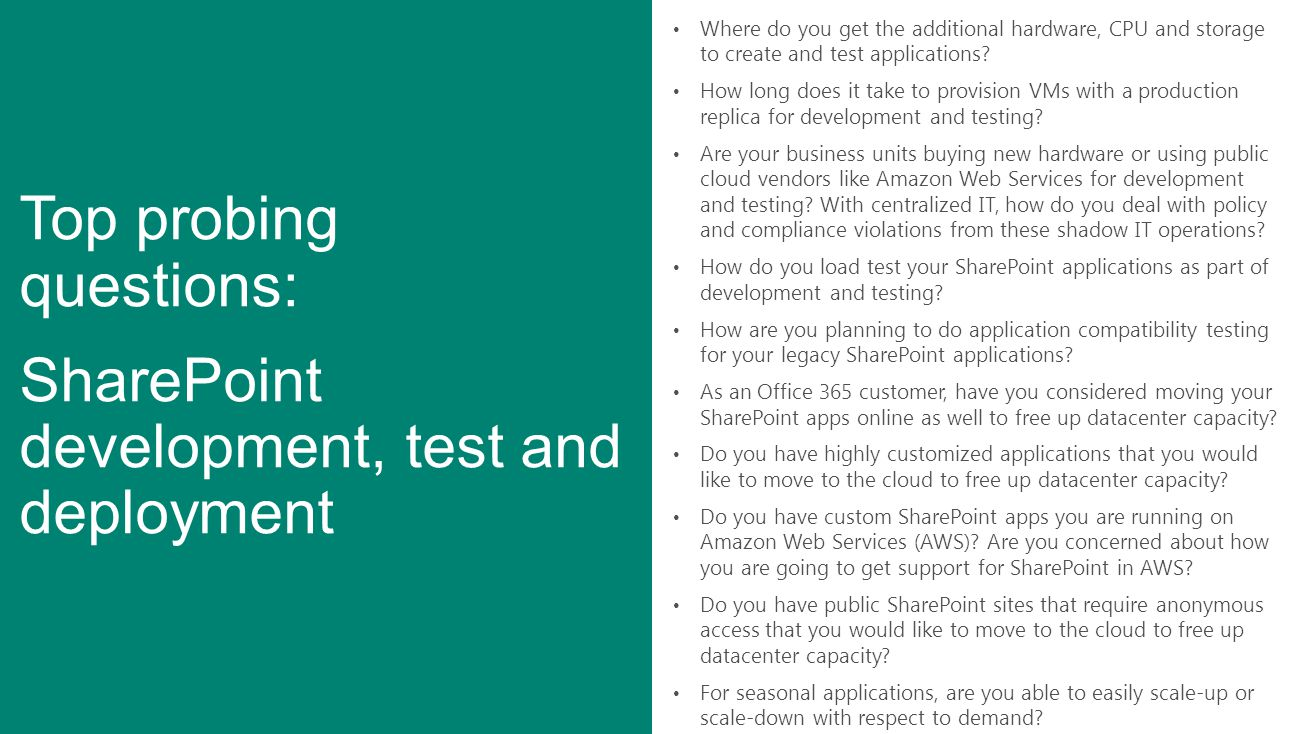 Top probing questions: SharePoint development, test and deployment