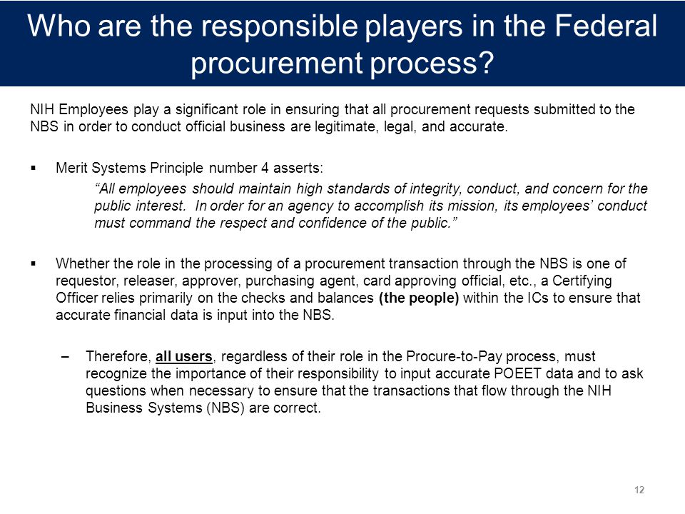 Who are the responsible players in the Federal procurement process