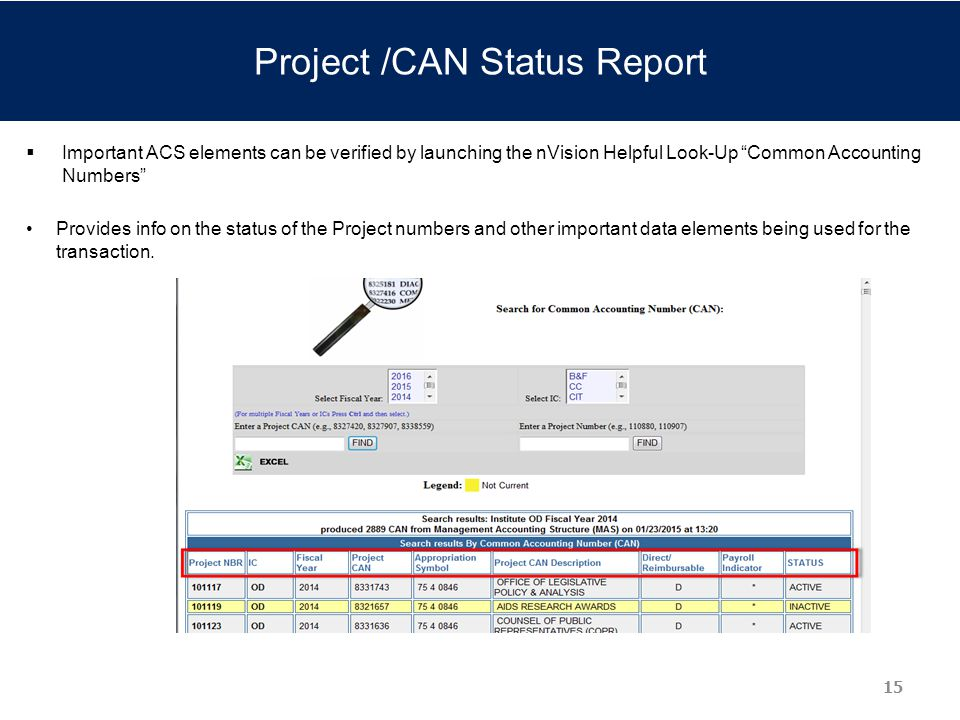 Project /CAN Status Report