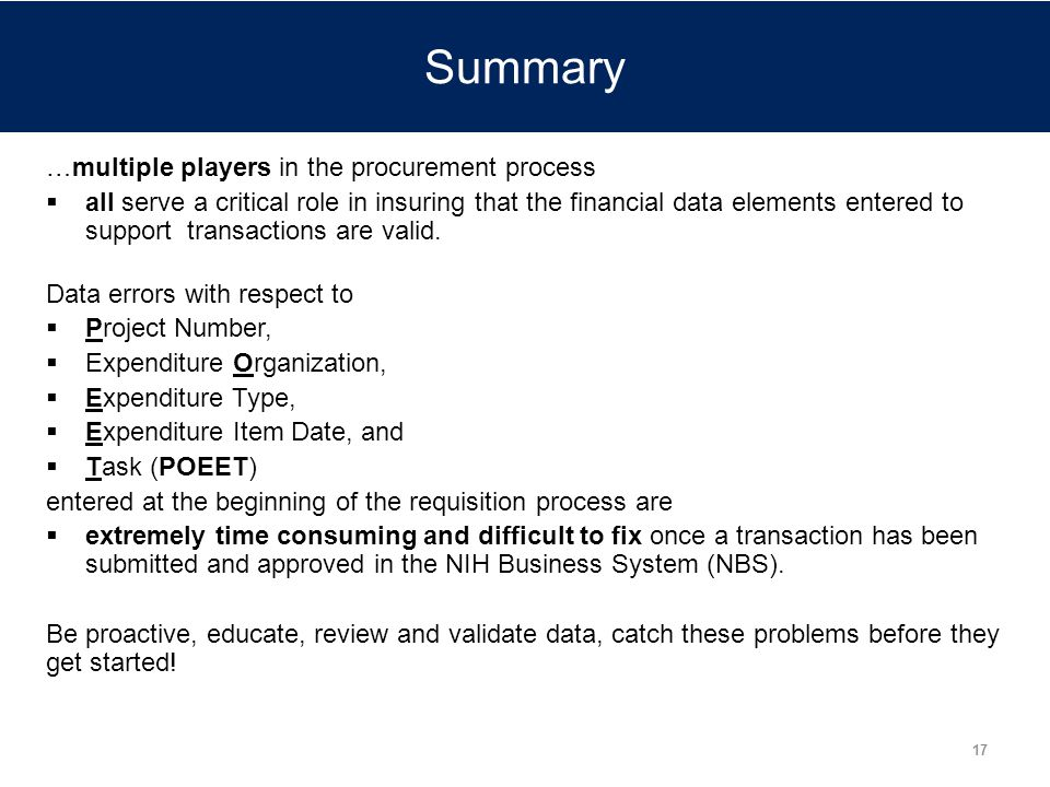 Summary …multiple players in the procurement process