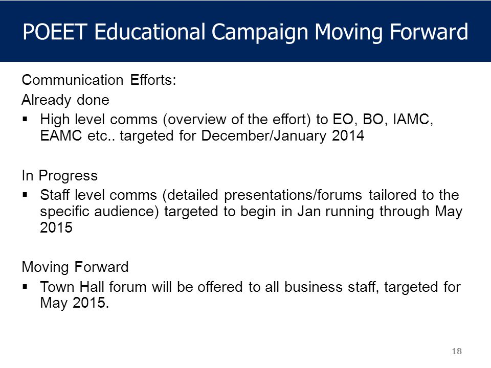POEET Educational Campaign Moving Forward