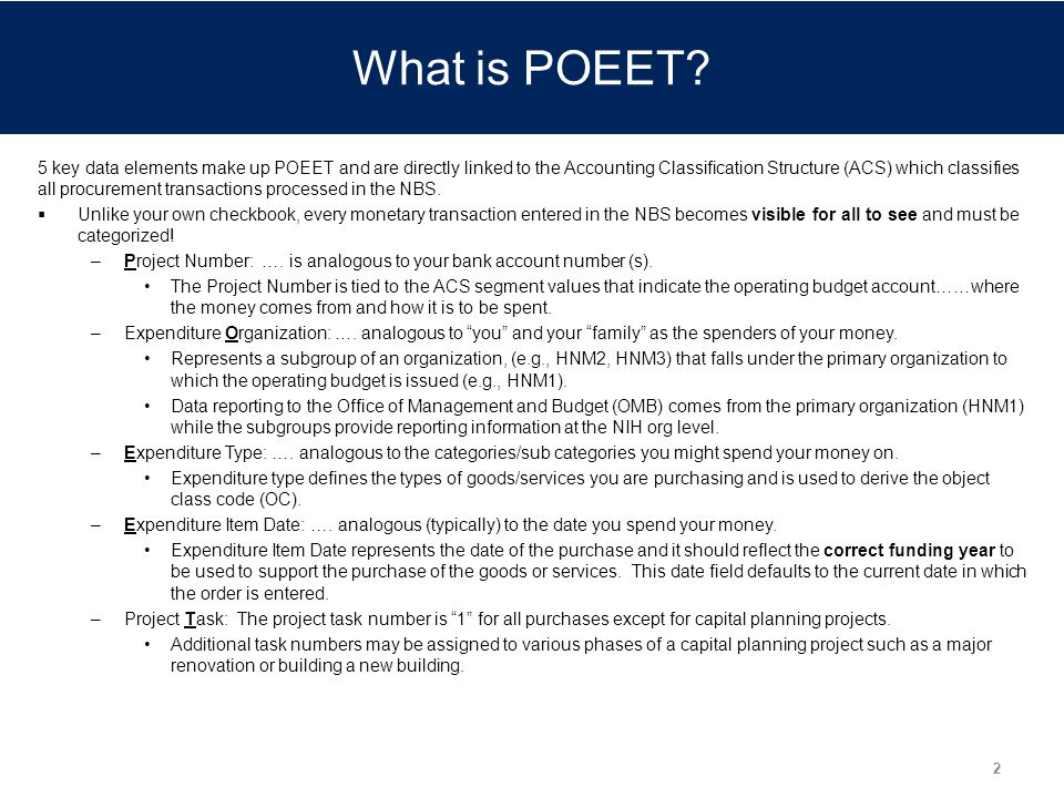 What is POEET Talking Points:
