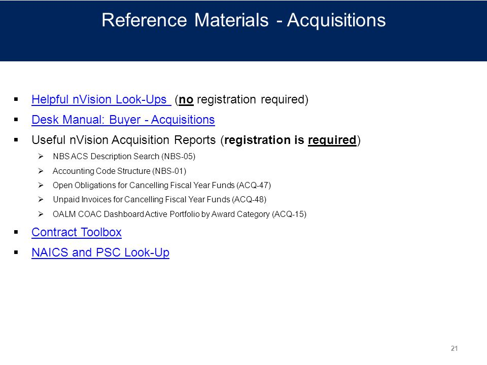 Reference Materials - Acquisitions