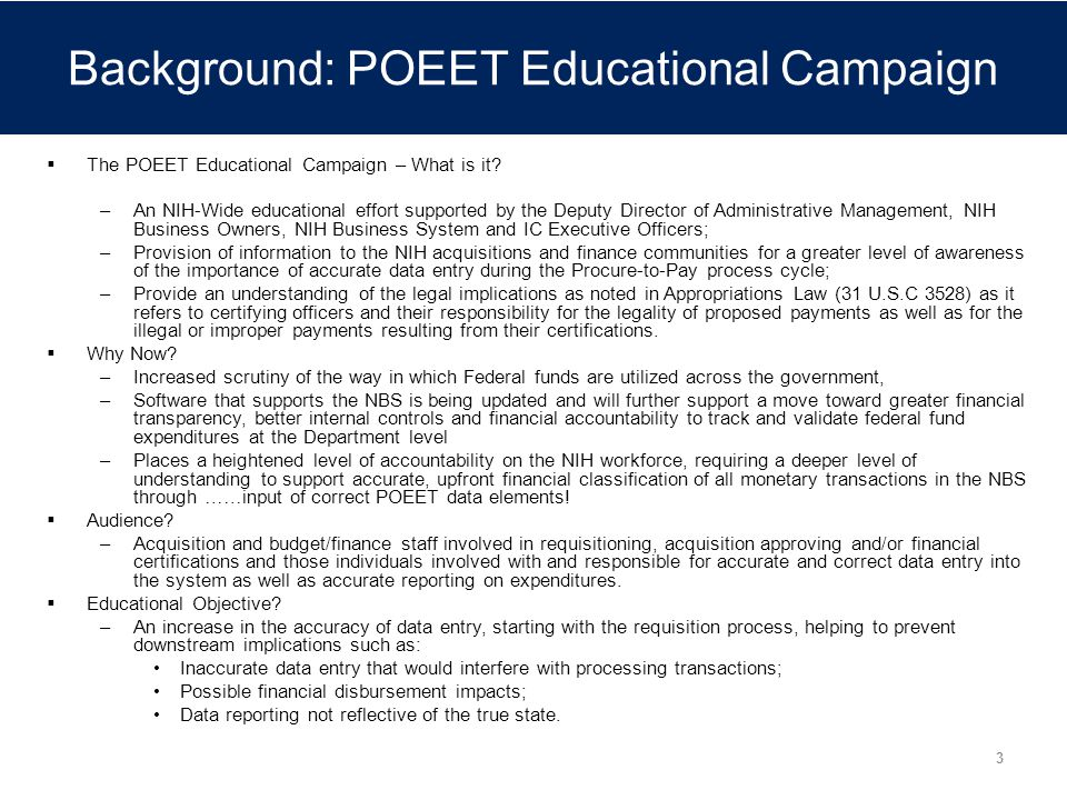 Background: POEET Educational Campaign