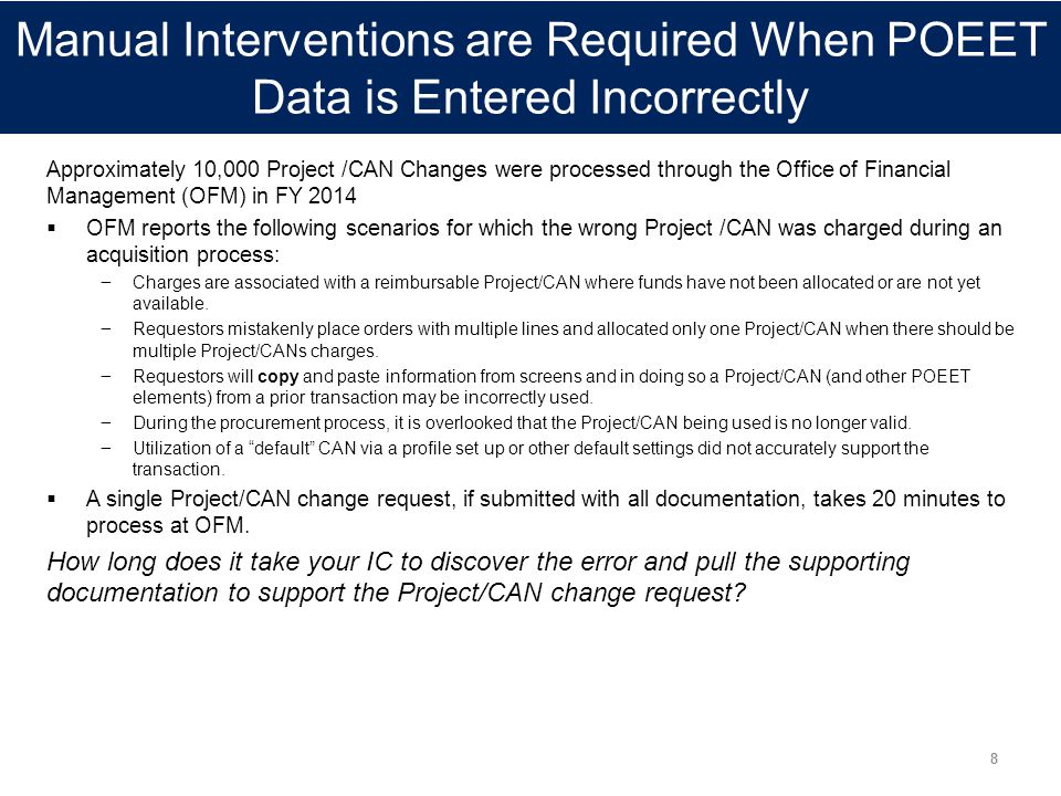 Manual Interventions are Required When POEET Data is Entered Incorrectly