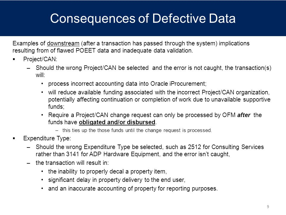 Consequences of Defective Data