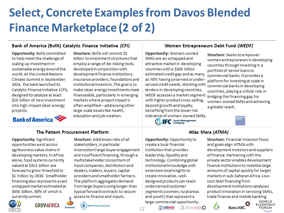 Select, Concrete Examples from Davos Blended Finance Marketplace (2 of 2)