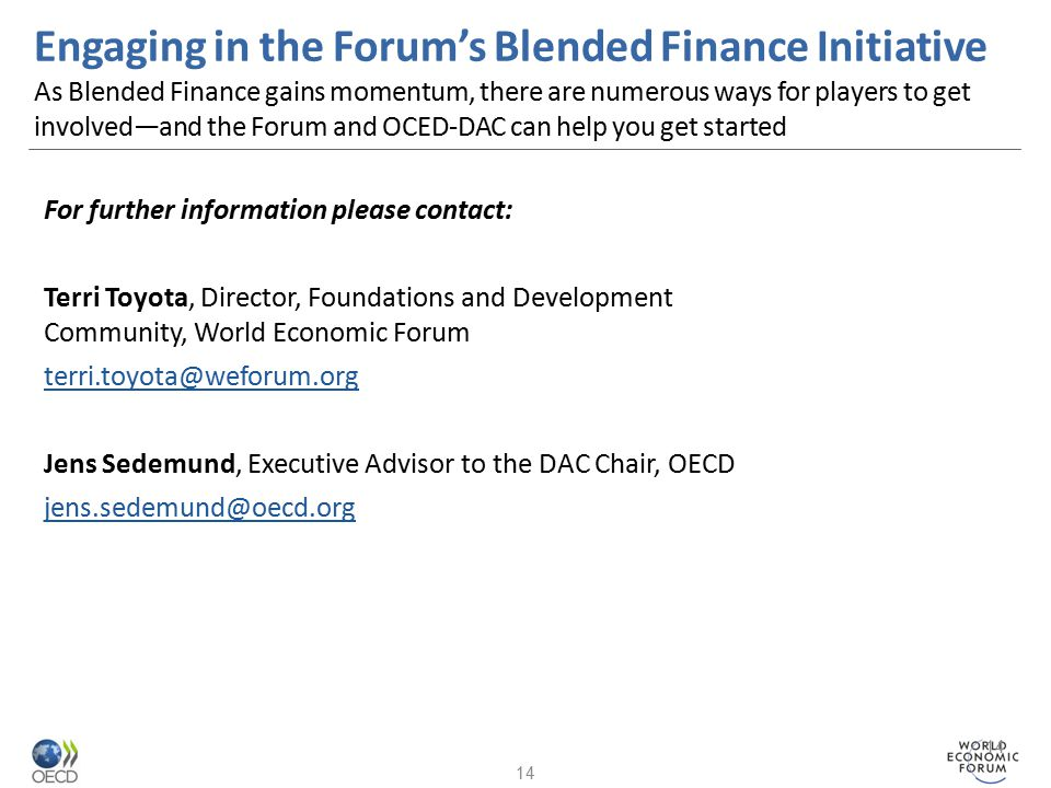 Engaging in the Forum's Blended Finance Initiative