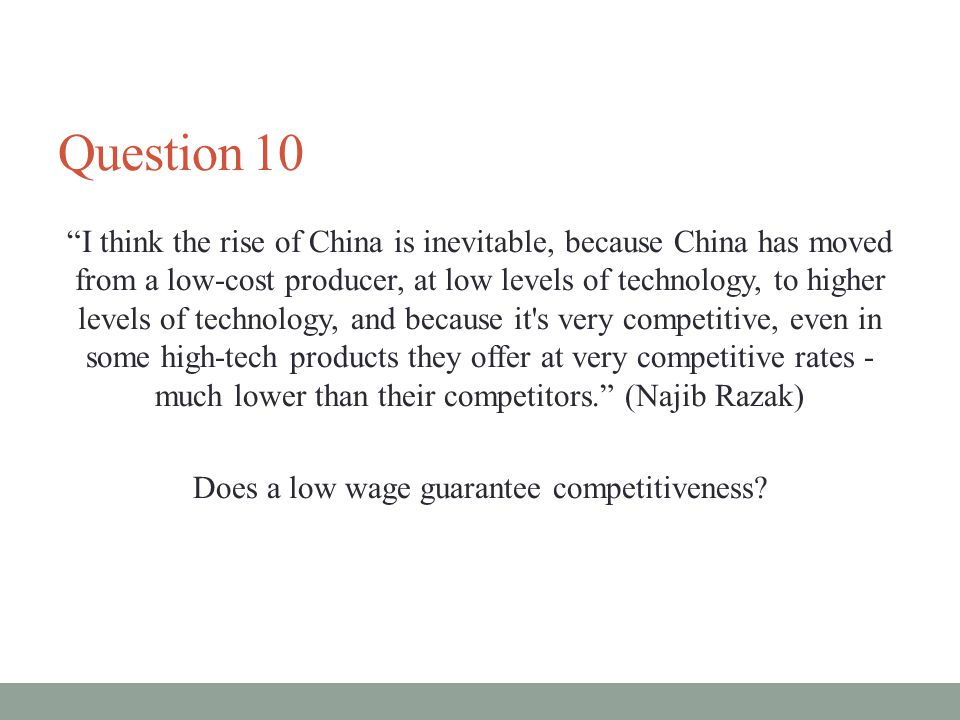 Does a low wage guarantee competitiveness