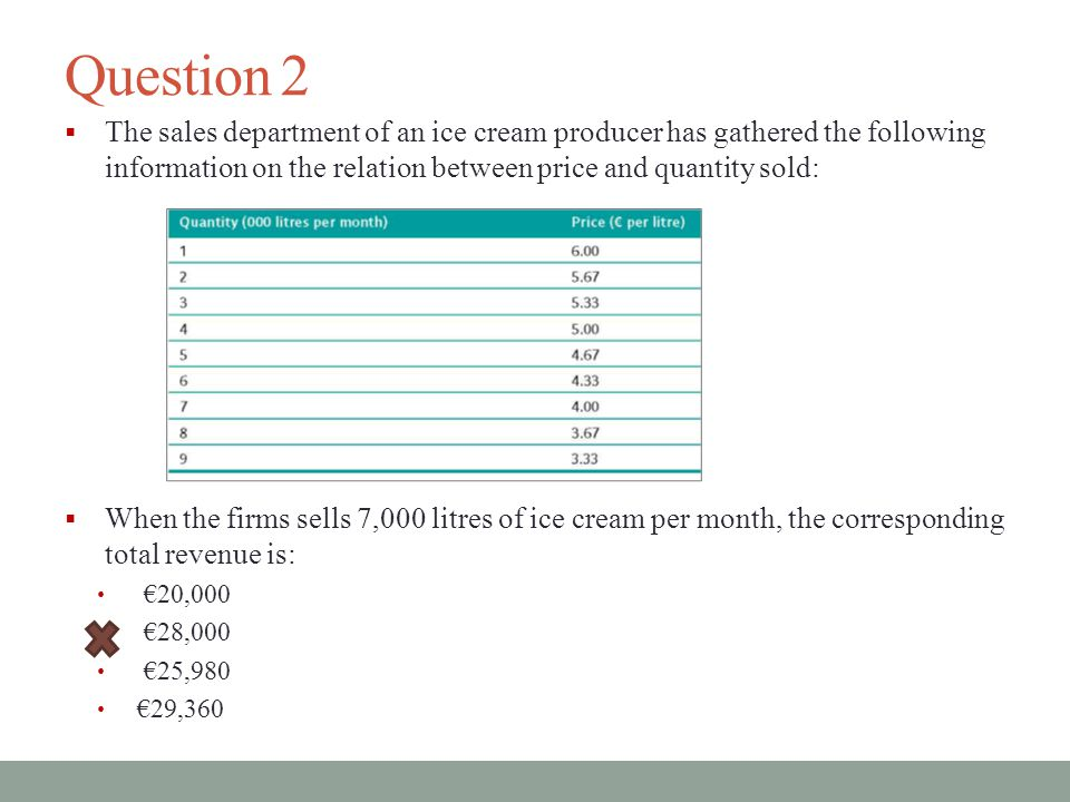 Question 2 The sales department of an ice cream producer has gathered the following information on the relation between price and quantity sold: